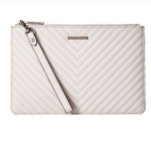Rebecca Minkoff Leather Wristlet Pouch In Putty